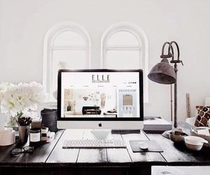 white, desk, and black image