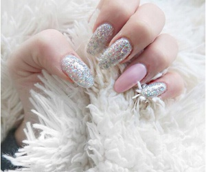 fluffy, glitter, and nails image