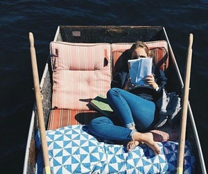 book, boat, and blue image
