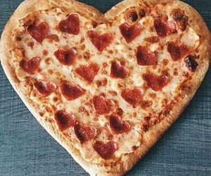 heart, pepperoni, and pizza image