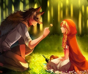 wolf, anime, and flowers image