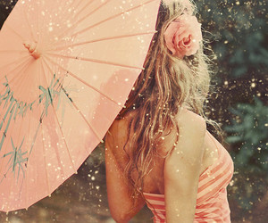 girl, pink, and umbrella image