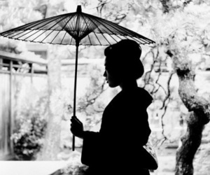 geisha, japan, and black and white image