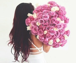flowers, rose, and hair image