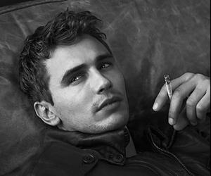 james franco, cigarette, and black and white image