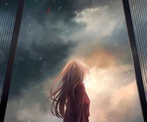 anime, anime girl, and rain image