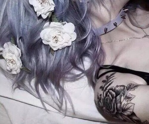 tattoo, hair, and flowers image