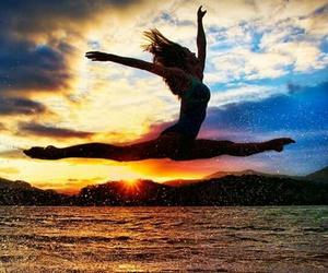 dance, sunset, and beach image