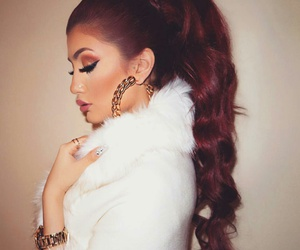 gold watches, white fur coat, and pink eyeshadow image