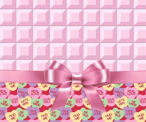 chocolate, conversation hearts, and pink image