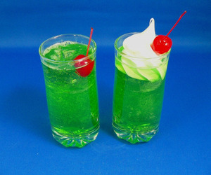 cherry, drink, and green image