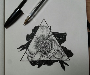 art, black, and flower image