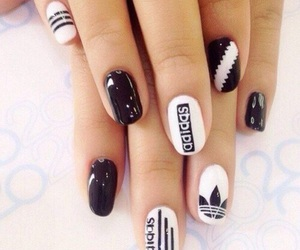nails, adidas, and black image
