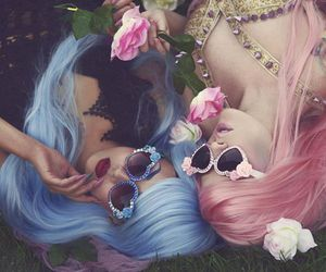 pink, girl, and blue image