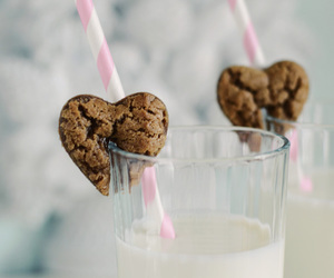 milk, chocolate, and cookie image