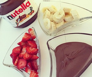 nutella, strawberry, and banana image