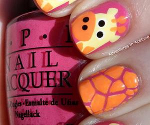 nails, giraffe, and pink image