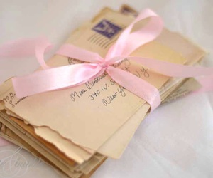 love letters, pink, and romantic image