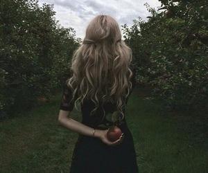 girl, apple, and hair image