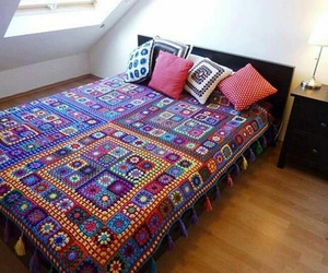 blanket, colorful, and crochet image