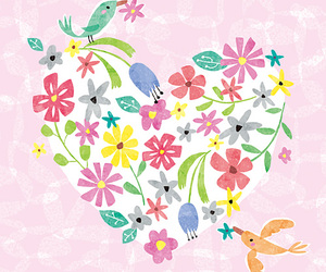 bird, floral, and heart image