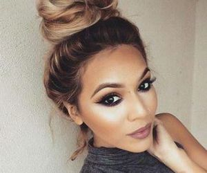 makeup, beauty, and bun image