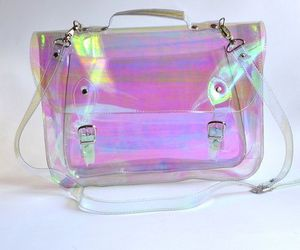 bag, pink, and holographic image