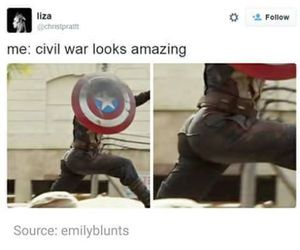 captain america, civil war, and funny image
