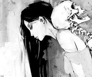 girl, skull, and skeleton image