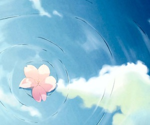 flowers, water, and anime image