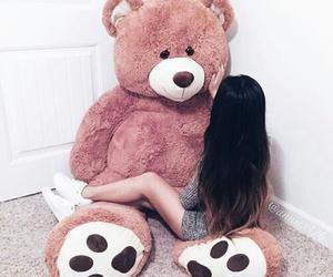 girl, bear, and pink image