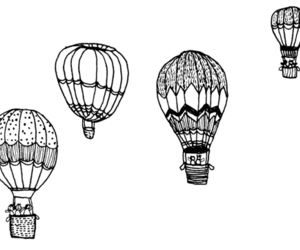 balloons, black and white, and drawing image