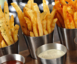 fries, potato, and sauce image
