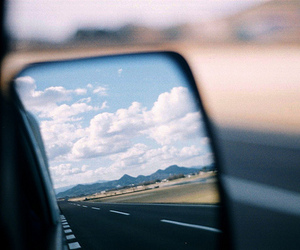 clouds, mirror, and car image