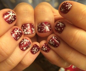 handpainted, nails, and snowflakes image