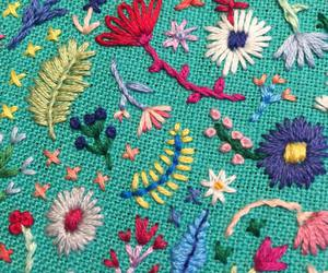 colourful, embroidery, and flowers image