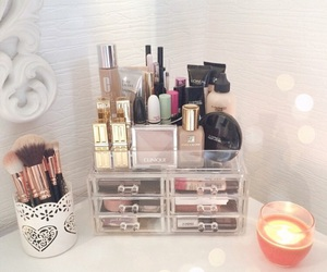 beauty, make up storage, and dressing table image