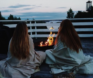 friends, girl, and fire image