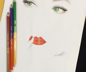 eyes, green, and paint image