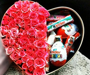 chocolate, kinder, and rose image