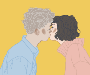 kiss, art, and yellow image