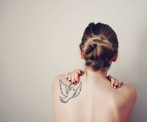 back, girl, and bird image