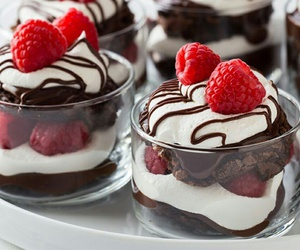 chocolate, raspberry, and food image