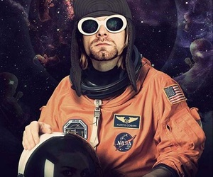 astronaut, kurt cobain, and nirvana image
