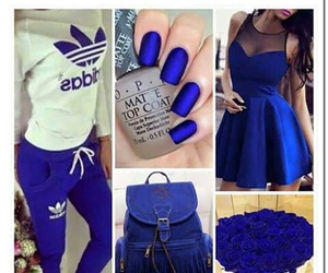 blue, adidas, and flowers image