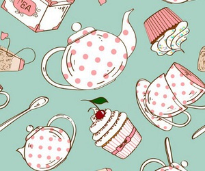 tea, cupcake, and pattern image