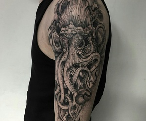 animal, octopus, and tattoo image