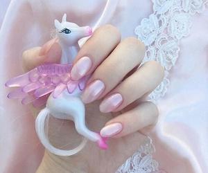 pink, nails, and unicorn image