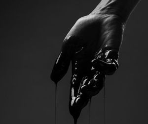 black, hand, and blood image