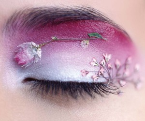 flowers, eye, and makeup image